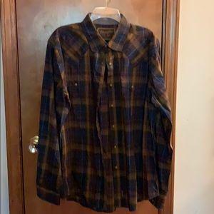 Wrangler button down plaid shirt